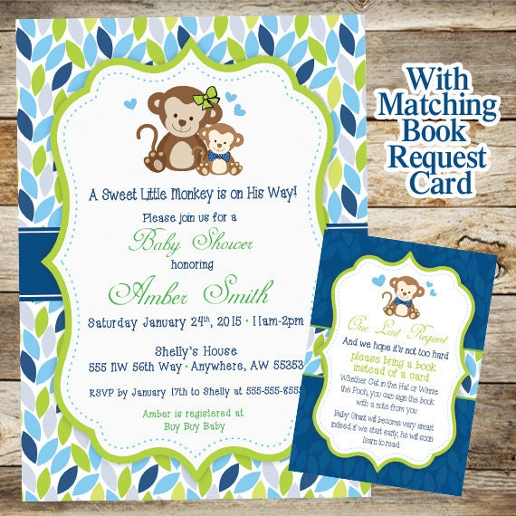 monkey baby shower invitation baby shower invitation baby shower boy
