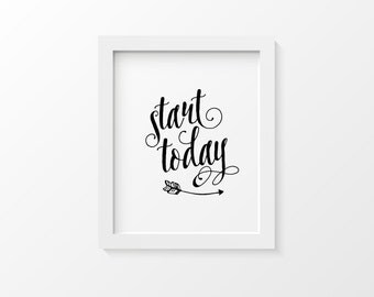 Inspirational Quote Art Print | Typography Art Home Decor | Cute Office Decor | Motivational Wall Decor | Start Today