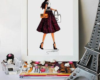 Beautiful handmade print,Fashion illustration-Girl with Gucci handbag