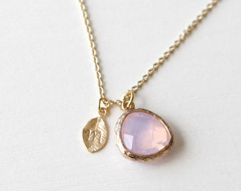 gemstone personalized leaf initial necklace, June birthstone, bridesmaid gifts, dainty necklace,birthday, pink wedding jewelry