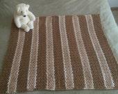 Crochet Blanket Cream White, Tan, & Brown Heirloom Handmade Crocheted Afghan Throw Lap Blanket