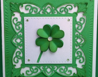 Shamrock 3D Card, Handmade Card, 3D Card, St. Patrick's Day Card, Hand Made Card, 4 Leaf Clover Card, Best of Luck, St. Paddy's Day 3D Card