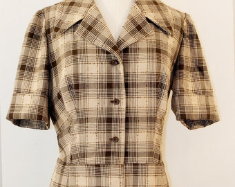 60s fitted checked shirt-dress