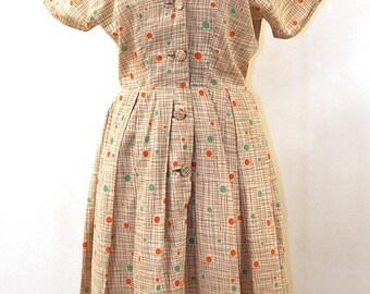 50s print handmade dress