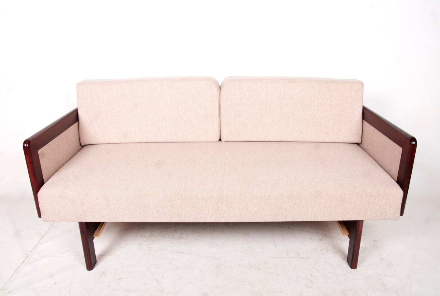 Retro Vintage Danish Rosewood Sofa Bed Day Bed Tweed Modular Studio Couch Single Daybed 1950s