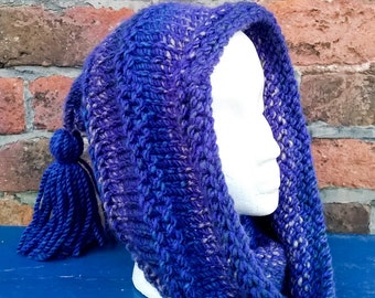 Knitted hooded cowl with tassel, festival scoodie blue pixie hat