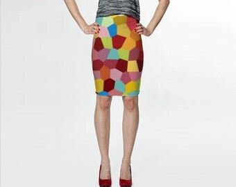Red Skirt, Pencil Skirt, Colorful Skirt, Fitted Skirt, Orange, Blue, Knee Length Skirt, Womens Skirts, Womens Clothing, Designer Skirts