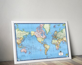 World Map | Colorful World Map | Mercator Map of the World | Vintage Map Reprint | Map Hanging | Wall Hanging