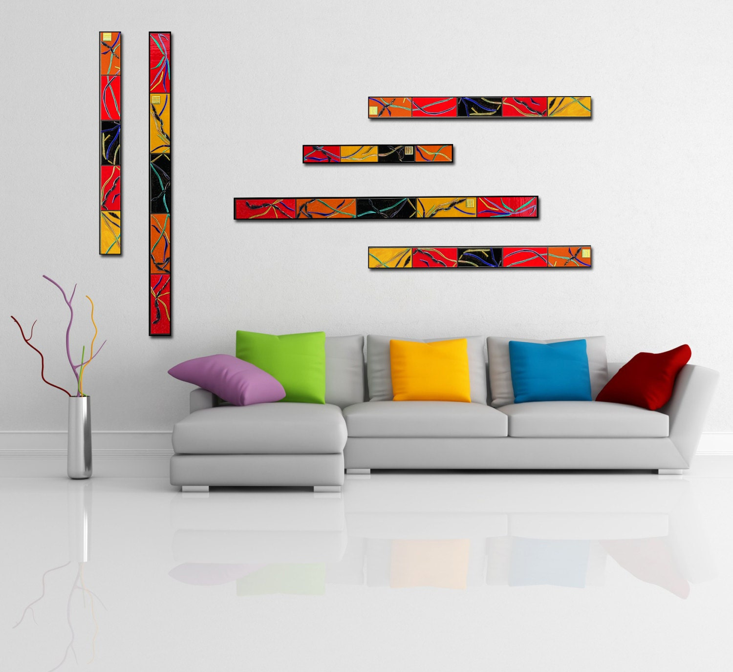 Zen Bedroom Wall Decor : Wall art set of abstract decor tall zen by