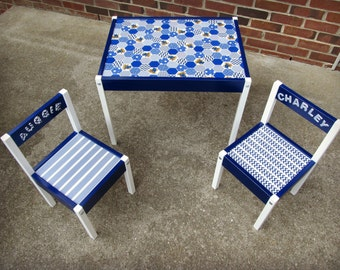 personalized kids table, kids craft table, Kentucky table, Univeristy of Kentucky, blue and white, tables and chair set, UK table
