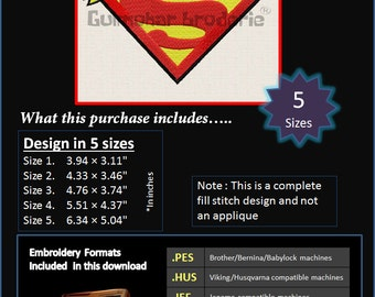 Supergirl Superman Embroidery designs Multiformat Pes, Hus, Jef, Dst, Exp Machine embroidery 5 Sizes Product Code : Supergirl