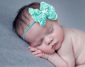 Shabby Rosette Bows, newborn headbands, shabby headbands, baby hair bows, baby girl bows, infant headbands, infant bow, photo prop