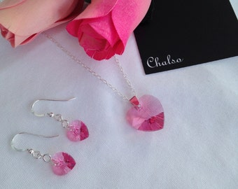 Pink heart necklace and earrings, Rose Swarovski hearts with Sterling silver, girlfriend gift, for her, daughter gift, love, Valentines gift