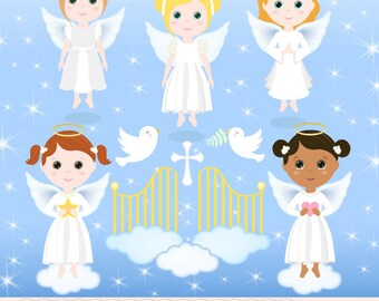 "Angels clipart: ""ANGEL CLIPART"" with angel girl clipart, baptism clipart for scrapbooking, card making, baby shower, invitations"