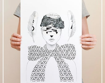 SALE | Art Print | 'Record Hat' | LIMITED EDITION | Wall Art