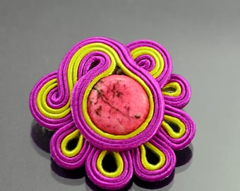 Soutache Brooch Flores, will add glamour to any outfit, effective, ideal for summer styles, handmade