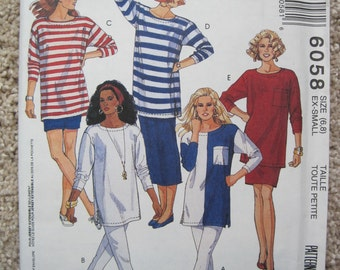 UNCUT Misses Tunic, Skirt, Pants and Shorts - Size XS - McCalls Pattern 6058 - Vintage 1992