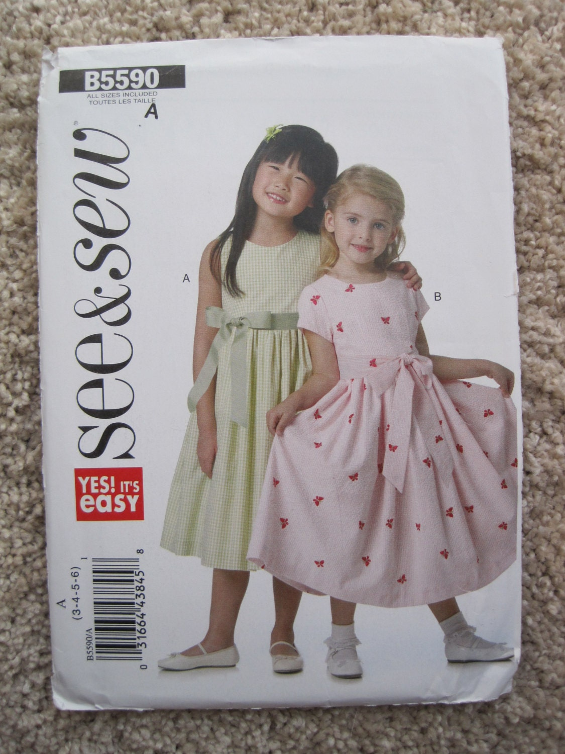 8e43949d3e30 UNCUT Girls Lined Dresses and Sash - Size 3 to 6 - Butterick Sewing ...