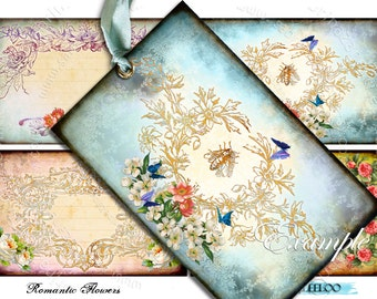 ROMANTIC FLOWER label gift tags - french images shabby chic - Digital collage sheet vintage paper goods - instant download printable - tl124