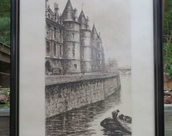Circa 1900 Signed Aime Edmond d'Allemagne Framed Etching