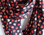 Infinity scarf, Black and pink, red scarf, Heart scarf, Heart pattern scarf,Gift for Her, satin scarf,loop scarf, Valentine's Day gift