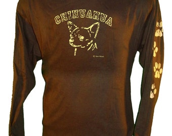 Screen Printed (distressed)  Chihuahua Shirt w/ Paws on left sleeve