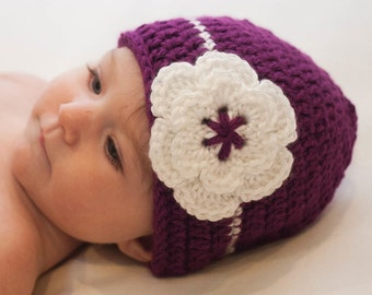 Baby Girl Beanie, Crochet Hat with Flower, Plum and White