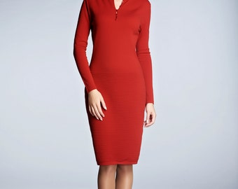 OLIVIA - Red soft merino wool-blend knitted dress