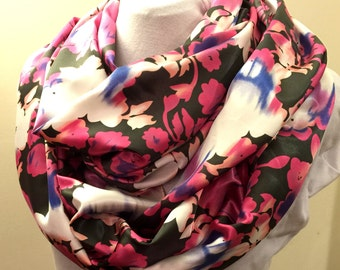 Soft Silky Floral Pink and Black Infinity Scarf