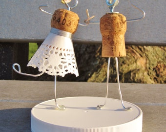 Champage Cork Cake Topper - Wire Legs (Weddings, Engagement Parties, Bridal Showers, etc!)