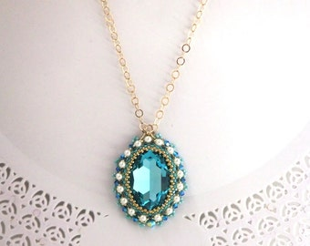 Long pendant necklace, Swarovski crystal pendant, Long turquoise necklace, turquoise gold necklace, Big pendant , Beaded necklace handmade