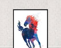 Horse Watercolour Print, Horse Illustration, Pony Print, Wall Decor