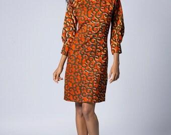 Long sleeve dress, Spring Dress, Summer Dress, African print dress, Tribal print dress, Orange dress, knee length dress, Tribal fabric