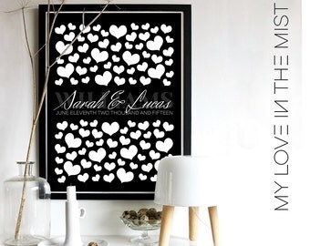 100 Hearts Wedding Guest Book Alternative/Alternative Wedding Guest Book/Signature hearts/Engagement Gift/Wedding Gift/100 guests,No. 104