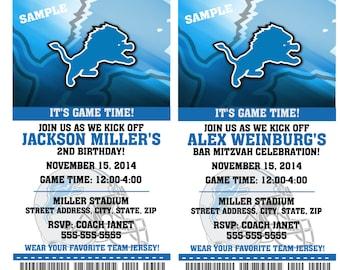 Printable Birthday Party Invitation Card Detroit Lions Birthday Ticket Invitation Football Weddings Baby Showers Bar Mitzvahs