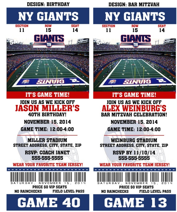 Printable Birthday Party Invitation Card New York Giants