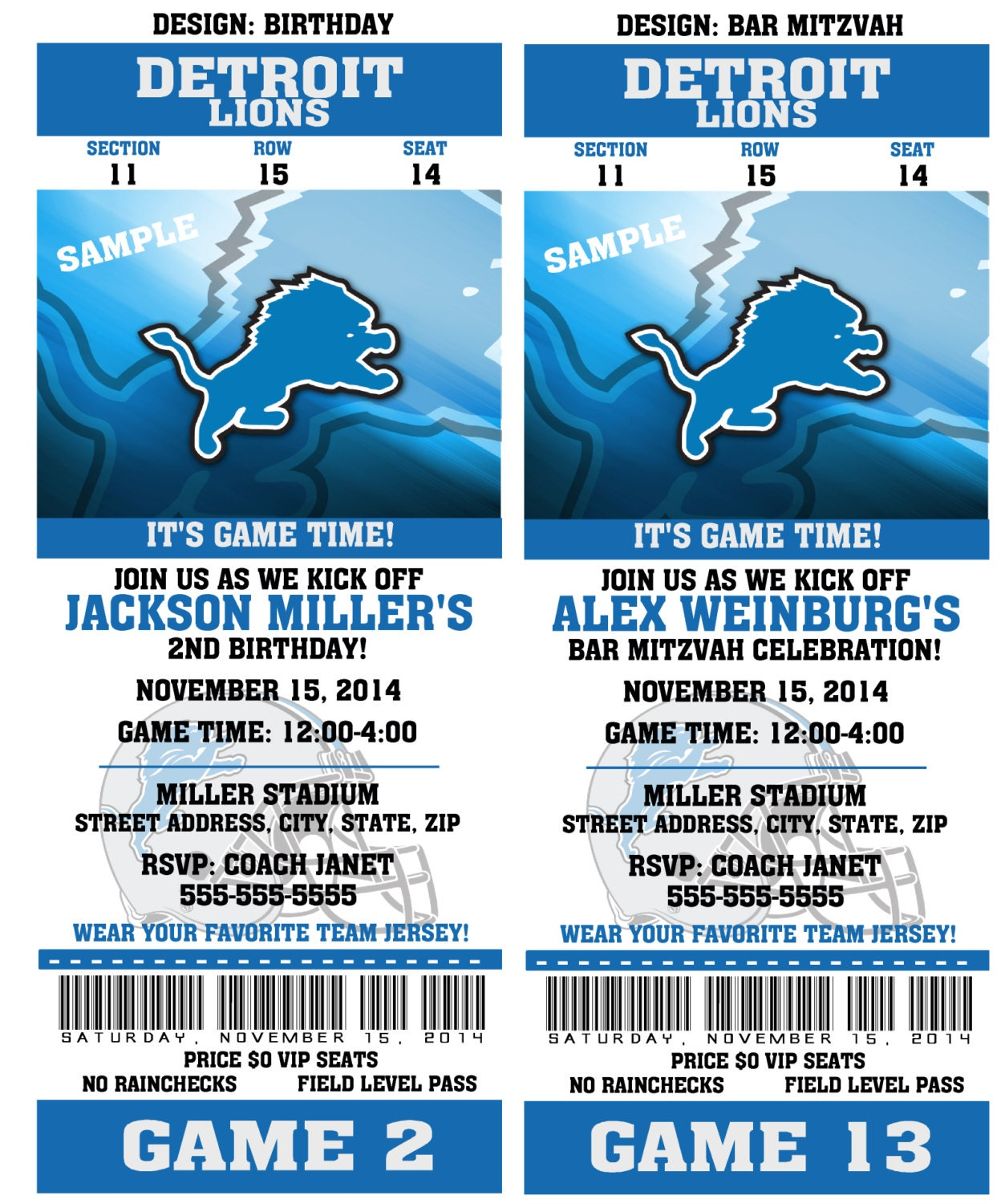 Printable Birthday Party Invitation Card Detroit Lions