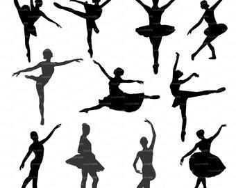 Ballerina ballet silhouette (eps, svg, dxf, ai, jpg, png) Vector clipart Digital Wall Decor Vinyl Cutting Silhouette Cameo EasyCutPrintPD