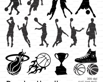 Basketball USA sport Silhouette (eps, svg, dxf, ai, png) Vector ClipArt Decal window Vinyl Wall Sticker Digital Cutting Cameo EasyCutPrintPD