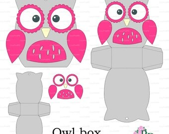 Owl paper Box template Baby Shower Animals birds party (svg, dxf cutting file) Die Cut Silhouette Cameo Cricut cutter EasyCutPrintPD