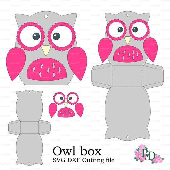 Owl paper box template baby shower animals birds party svg owl paper box template baby shower animals birds party svg dxf cutting file die cut silhouette cameo cricut cutter easycutprintpd pronofoot35fo Images