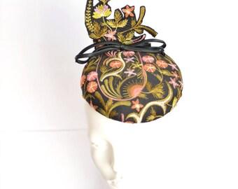 Handmade embroidered silk pillbox.