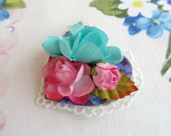 Heart Shaped Floral Brooch, Fabric Flower Brooch Corsage