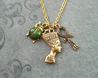 Nefertiti Necklace SMALL Nefertiti Jewelry Egyptian Necklace Egyptian Jewelry Scarab Necklace Gold Ankh Necklace Green Scarab Beetle Jewelry