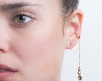Gold EAR CUFF Earring, Swarovski Crystal Gold Ear Cuff Dangle Earring, Elegant Swarovski Crystal Drop Earring, No Piercing Gold Ear Cuff