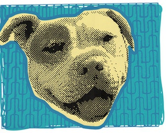 Smiling Pit Bull Dog Print