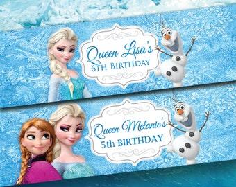 Disney Frozen Water Bottle Digital Birthday Labels