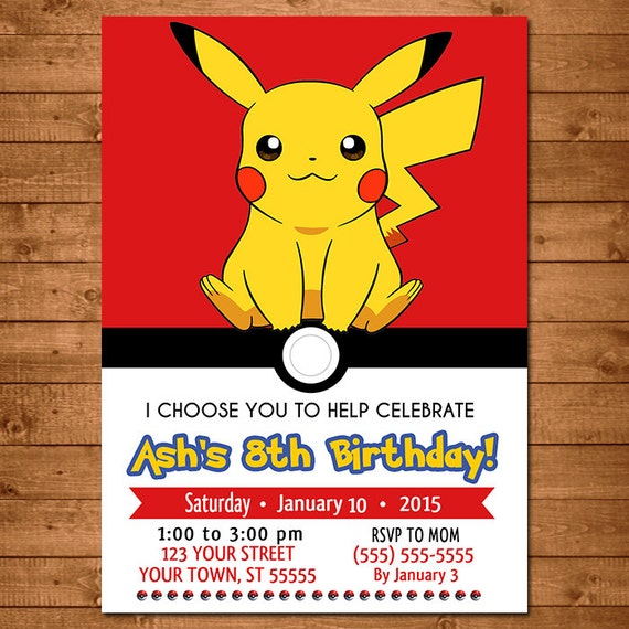 Crafty image with printable pokemon invitations