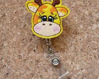 GIRAFFE Badge Reel | Giraffe  Felt Badge Reel | Retractable Name Holder | Badge Holders|  221