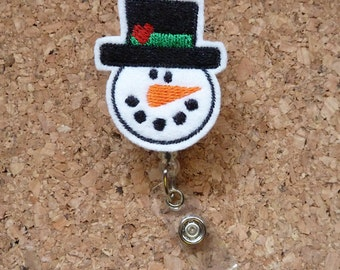 SNOWMAN Badge Reel | Winter ID Badge Reel | Christmas Felt Badge Reel | Retractable Name Holder | Nurse | Teacher | HEART  187
